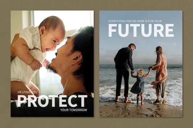 Szablon rodzinnego ubezpieczenia zdrowotnego psd chroń swój jutrzejszy plakat reklamowy podwójny zestaw