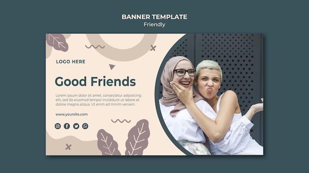 Szablon sieci web banner dobrych przyjaciół