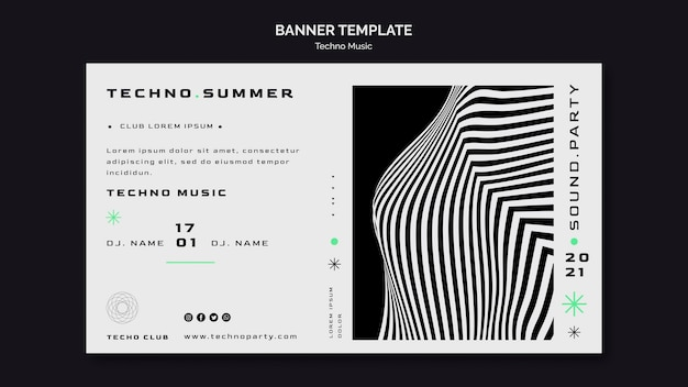 Szablon sieci web banner festiwalu muzyki techno