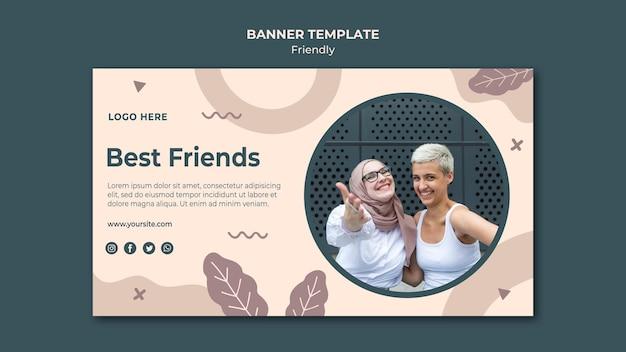 Szablon sieci web banner najlepszych przyjaciół