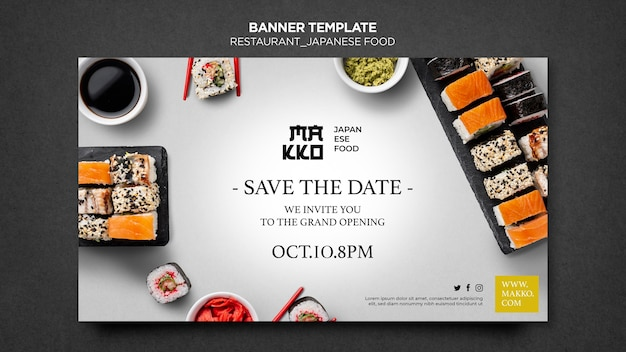 Szablon sieci web banner otwarcia restauracji sushi