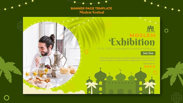 Szablon sieci web banner wystawy muzułmańskiej