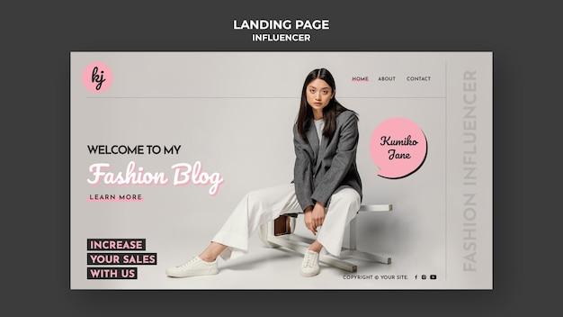 Szablon sieci web bloga o modzie