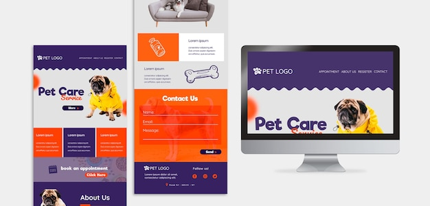Szablon sieci web do opieki nad zwierzętami