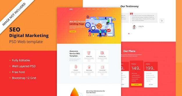 Szablon sieci web marketingu cyfrowego seo