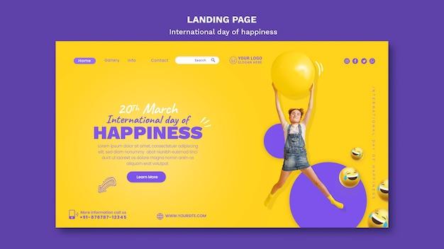 Szablon sieci web międzynarodowego dnia szczęścia