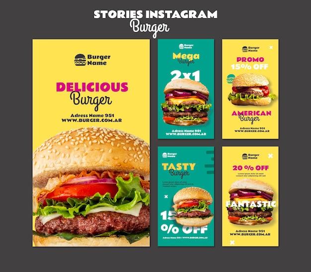 Szablon sieci web opowiadań instagram pyszne burger