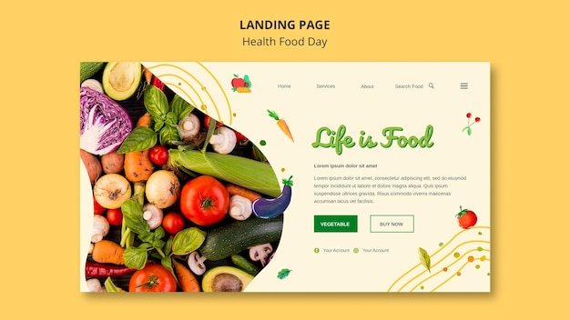 Szablon sieci web strony docelowej dnia zdrowej żywności
