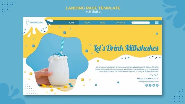 Szablon sieci web strony docelowej koktajlu mlecznego