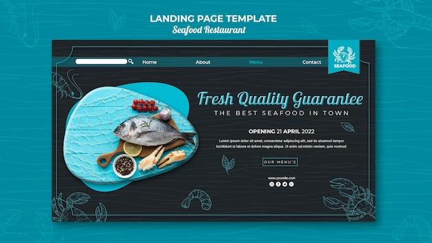 Szablon sieci web strony docelowej restauracji z owocami morza