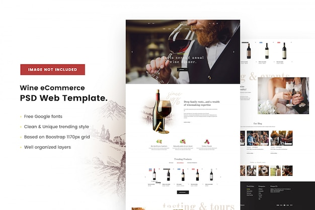 Szablon sieci web wine ecommerce
