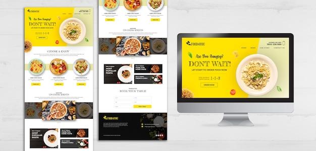 Szablon sieci web włoskie jedzenie koncepcja