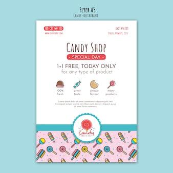 Szablon sklepu ze słodyczami dla ulotki