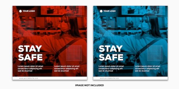 Szablon social media post square banner coronavirus collection pozostaje bezpieczny duotone