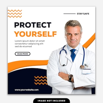 Szablon social media post square banner coronavirus doctor