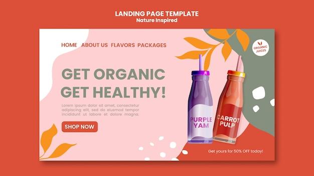 Szablon społecznej strony docelowej pyszne organiczne koktajle