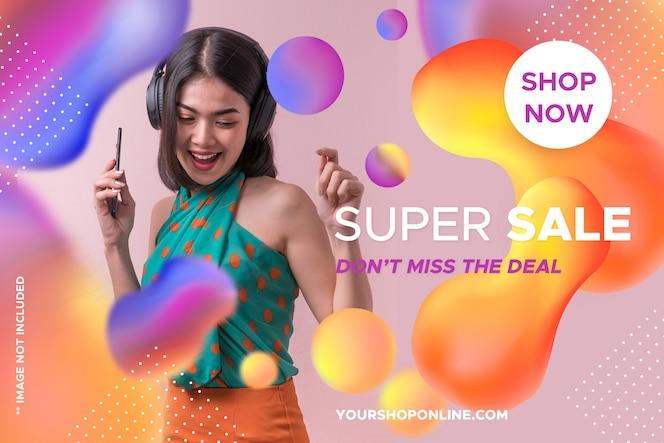 Szablon sprzedaży kolorowy transparent