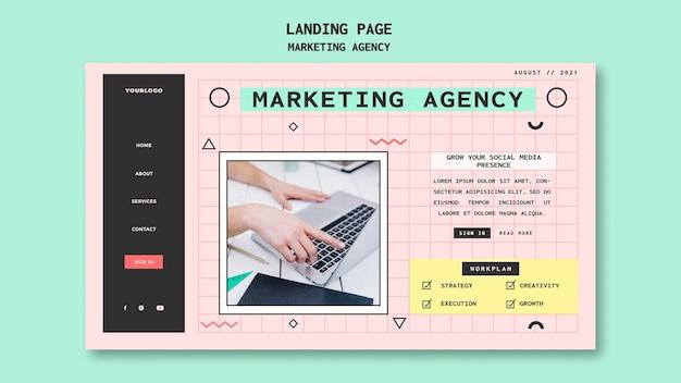 Szablon strony docelowej agencji marketingu społecznościowego