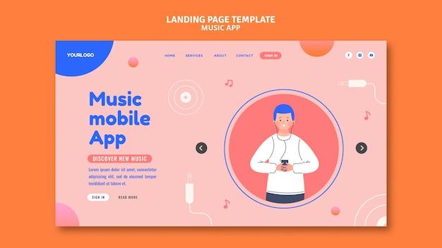 Szablon strony docelowej aplikacji mobilnej muzyki