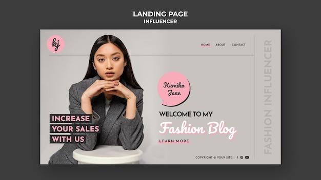 Szablon strony docelowej bloga o modzie