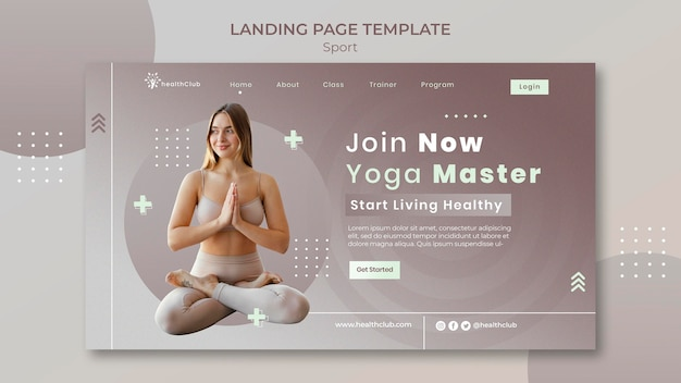 Szablon strony docelowej ćwiczeń jogi