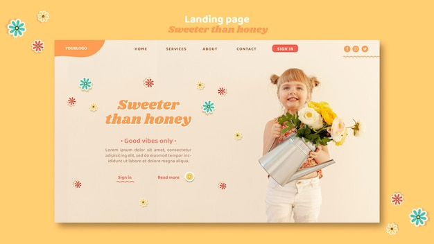 Szablon strony docelowej dla dzieci z kwiatami