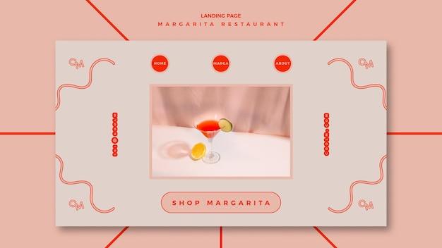 Szablon strony docelowej dla koktajlu margarita