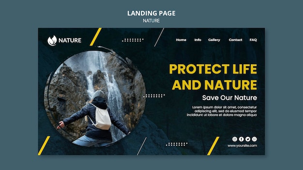 Szablon strony docelowej dla ochrony i zachowania przyrody