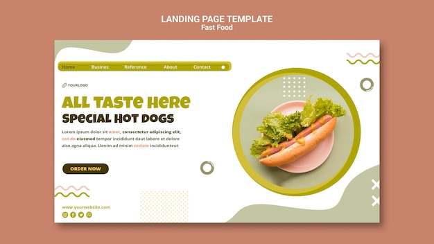 Szablon strony docelowej dla restauracji z hot dogami