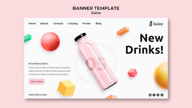 Szablon strony docelowej dla soku owocowego w szklanej butelce