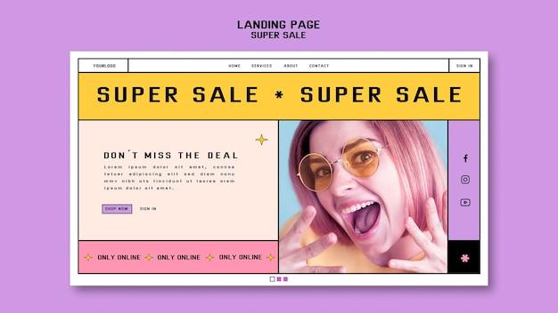 Szablon strony docelowej dla super sprzedaży okularów przeciwsłonecznych