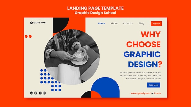 Szablon strony docelowej dla szkoły projektowania graficznego