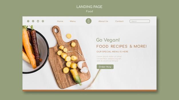 Szablon strony docelowej dla wegańskiej żywności