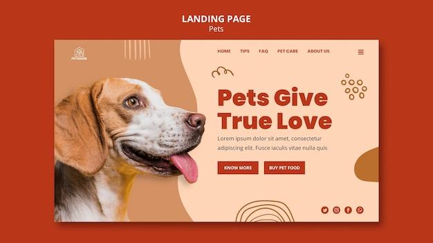Szablon strony docelowej dla zwierząt domowych z uroczym psem