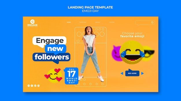 Szablon Strony Docelowej Dnia Emoji Premium Psd