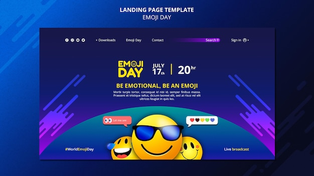 Szablon strony docelowej dnia emoji