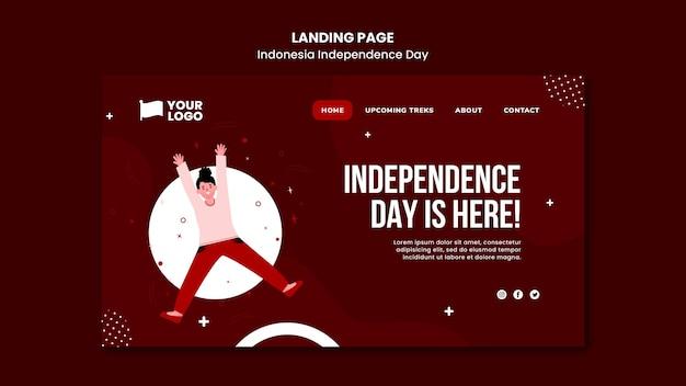 Szablon strony docelowej dnia niepodległości indonezji