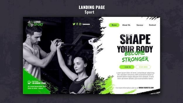 Szablon strony docelowej do ćwiczeń i treningu na siłowni