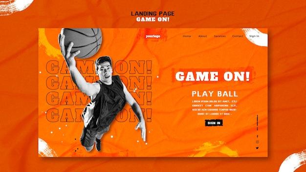Szablon strony docelowej do gry w koszykówkę