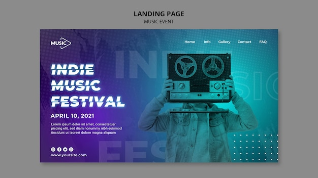Szablon strony docelowej festiwalu muzyki niezależnej