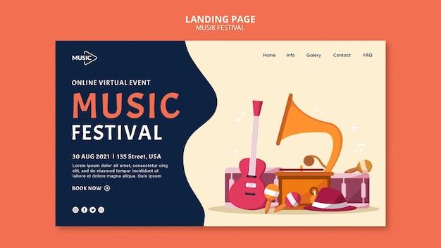 Szablon strony docelowej festiwalu muzyki online