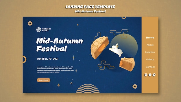 Szablon strony docelowej festiwalu w połowie jesieni