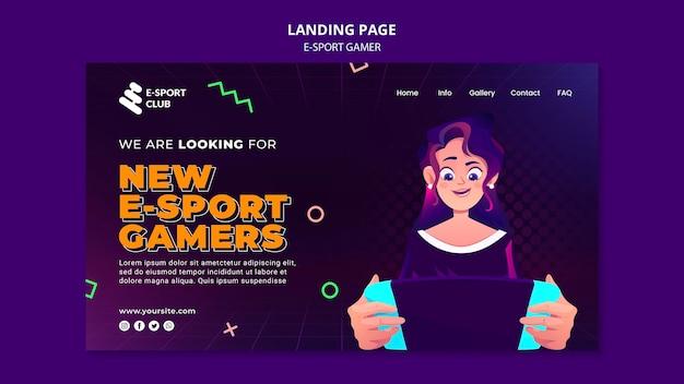 Szablon strony docelowej gier e-sportowych
