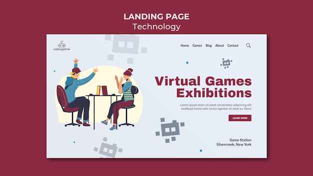 Szablon strony docelowej gier wirtualnych