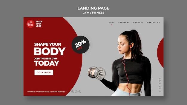 Szablon strony docelowej koncepcji fitness
