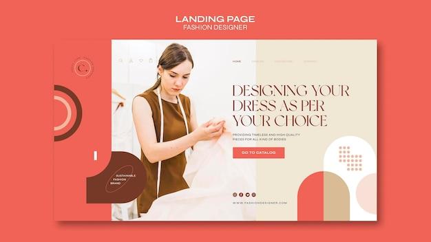Szablon strony docelowej koncepcji projektanta mody