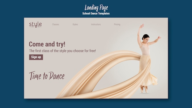 Szablon strony docelowej koncepcji tańca