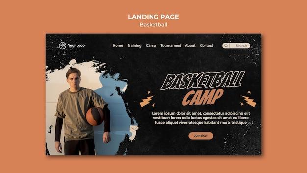 Szablon strony docelowej koszykówki
