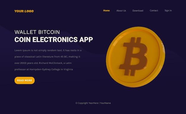 Szablon strony docelowej kryptowaluty bitcoin monety