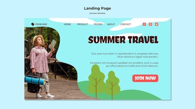 Szablon strony docelowej letnich podróży